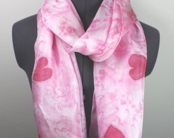 Baby Pink Silk Scarf ~ Hand Painted Silk Scarf, Red Heart Accessories, Womens Pastel Fashion, July Trends, Gifts For Her, Summer Trends