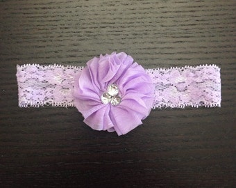 Lilac Glam Flower on Lilac Stretch Lace