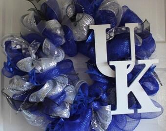 University Of Kentucky Uk Wildcats Deco Mesh Door Wreath W
