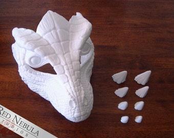 Lizard Mask Blank, Dragon Mask, Resin Mask Kit, Scaly Reptile Mask, Lizardman Face Mask Kit, DIY, Do It Yourself, Reptilian Mask Kit