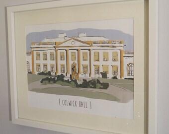 Personalised wedding venue hand finished digital illustration in frame