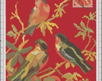 Part 1 Digital Vintage Birds Instant Download Needlepoint Pattern