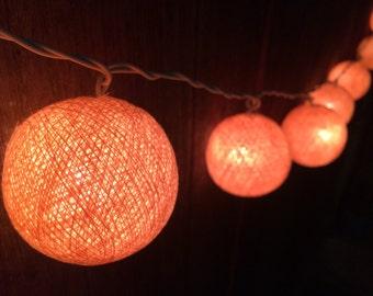 20 x Peach cotton ball string light for decor ,bedroom, wedding, party, garden,lamp,lantern