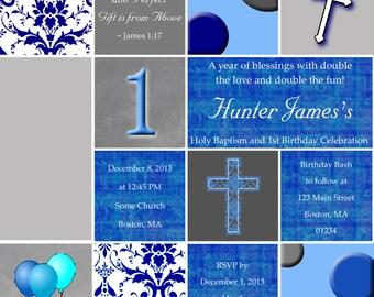 BAPTISM and BIRTHDAY Invitation w/ Photo - PRINTABLE!
