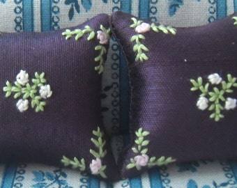 Hand Stitched Dolls House Cushions Flowers 1/12th scale Purple
