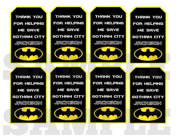 Batman Thank You Tag Card File Super Hero Inspired Digital