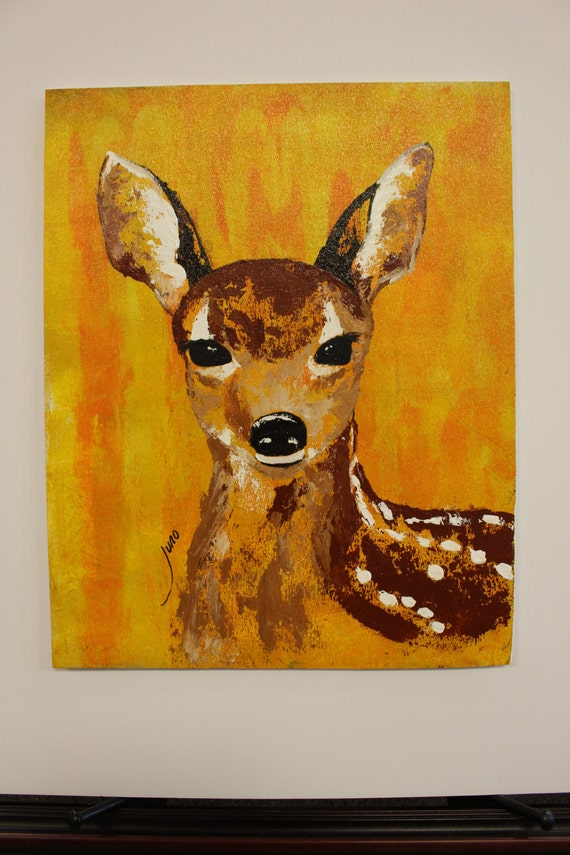Abstract Fawn Painting Deer Original Wildlife Acrylic Art