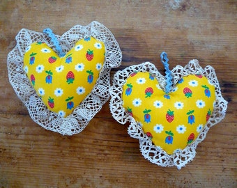 Floral Stuffed Fabric Heart Ornaments
