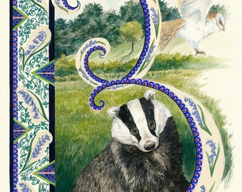 B is for Badger and Barn Owl and Blubell Archival print