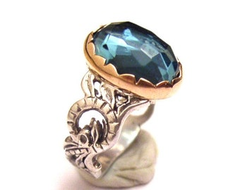 Sterling Silver 925 Ring with Blue Topaz & Gold 9Ct