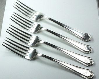 Vintage Alvin Sterling Silver Forks Hamilton Pattern Sterling Silver Alvin Forks Sterling Forks Sterling Silver Flatware Silver Dinner Forks