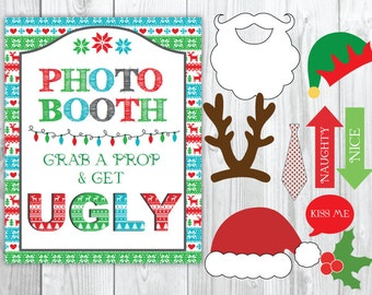 Ugly Sweater Party Christmas Photo Booth & Sign DIY Printable