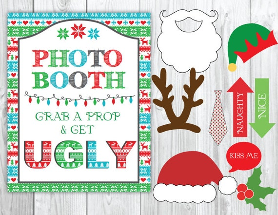 Ugly Sweater Party Christmas Photo Booth & Sign DIY ...