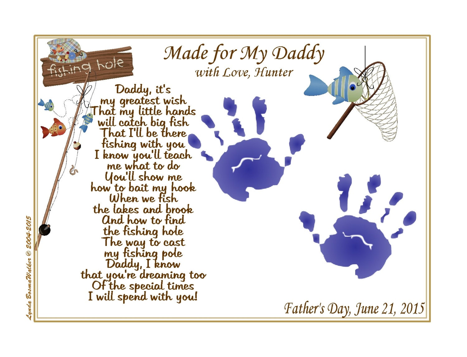 DADDY Teach Me FISHING Poem 8 x 10 Personalized Print
