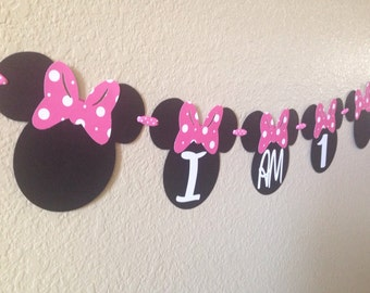 Minnie Mouse Highchair Banner, Minnie Mouse Age Banner, Highchair Banner, Minnie Mouse Party, Minnie Mouse Birthday, Minnie Party, Minnie