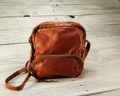 Leather small cross body purse Organizer handbag, shoulder travel bag crossbody unisex back,  mens everyday bag