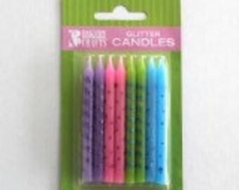 GLITTER Dots & Stripes Birthday Candles