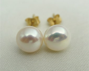SELECT SIZE-One pair white/Ivory  pearl earrings,Christmas,Ivory Pearl studs,14k goldfilled,Wedding,Love,Happiness,birthday,SE1-006