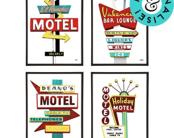 Retro Americana Group of 4 Motel Signs Pop Art Prints - Personalise