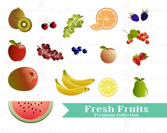 Fresh Fruits Clipart, Fruits Clip art, Mango Clipart, oranges clip art, currant clip art, blueberries clip art, bananas clipart,