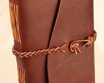 Cocoa Cowhide Journal With Suede Braid Closure