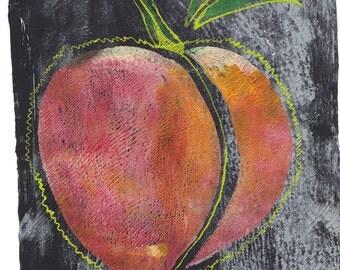 "peach monoprint pink grey print original art peach original art giant peach print big fruit print ""fur"""