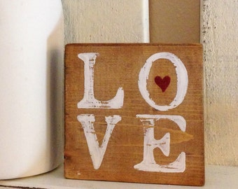 LOVE Valentine's Day Wooden Sign 3x3 inches