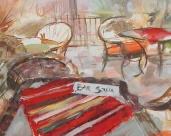 Impressionist oil painting landscape bar signed