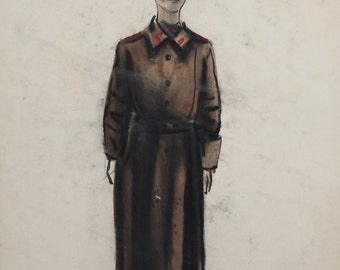 Vintage WC & Pastels Drawing Theatre Costume design soldier signed
