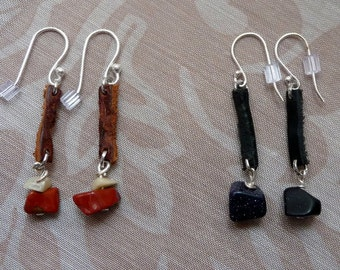 Genuine Leather and Semi-Precious Stone Earrings, Sterling Silver hardware