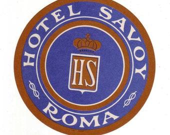 Genuine Vintage 1930s-'40s Original Unused Luggage Steamer Trunk Label Hotel Savoy Rome -- Free Shipping