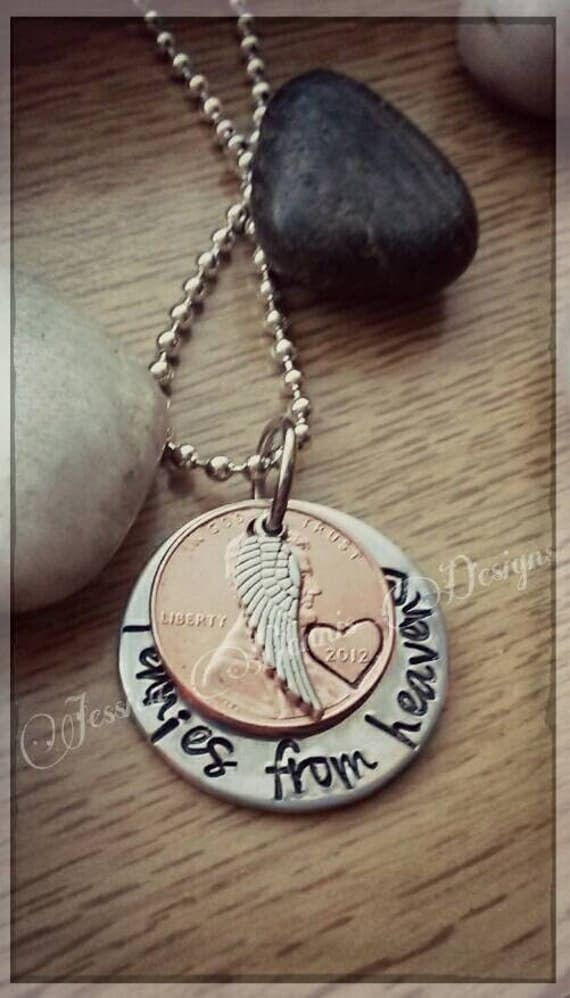 Pennies from heaven hand stamped necklace by for How do you make hand stamped jewelry