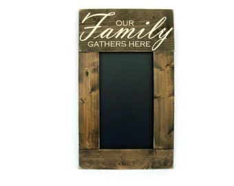 Rustic Wood Framed Chalkboard Wall Decor Sign Message Center Memo Board - Our Family Gathers Here (#1027-CB)