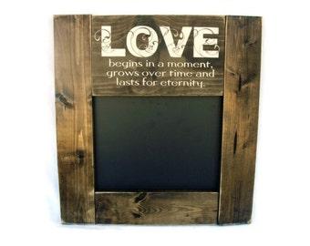 Wedding Chalkboard Rustic Wood Framed Gift Wall Decor - Love (#1273-CB)