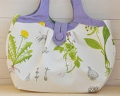 Shoulder Bag Pavlova (large canvas bag with pretty floral print, lilac handles anche green polka dots lining)