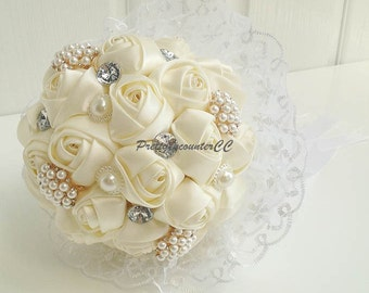 Wedding Bouquet Silk Flowers Wedding Flowers Handmade Rose Bridal Bouquet or Bridesmaid Bouquet with Lace Pearls Rhinestone and Satin Ribbon