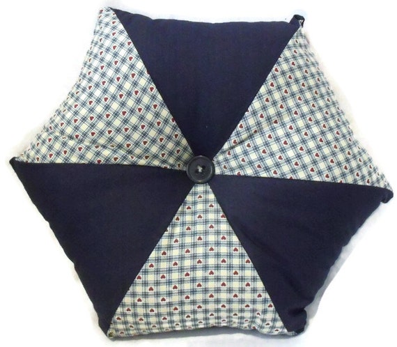 "star cushion, hexagonal shaped patchwork scatter cushion in primitive style fabric, pointed throw pillow,  16"" across, navy"
