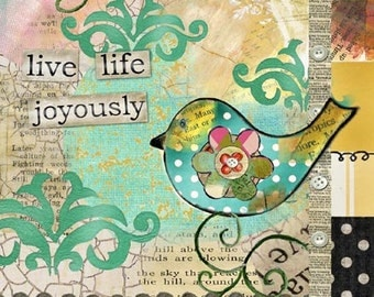 Live Life Joyously Mini Print with Wire