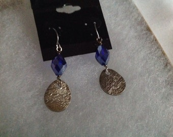 Fine Silver earrings with cobalt blue crystals item #P228