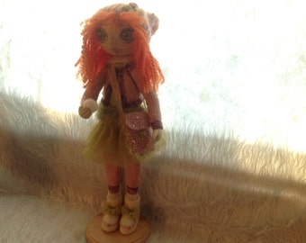 """Interior doll """"First snow"""" with pedestal 40cm"""