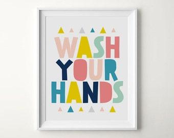 Printable Nursery Art, Wash Your Hands, Bathroom Print, Kids Reminder Art, Kids Poster, Printable Art, Digital Download