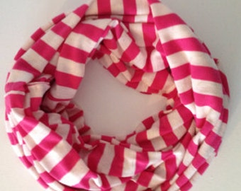 Pink/Oatmeal Striped Scarf