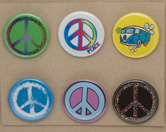 Peace Sign Buttons.  Set of 6 Pin Back Badges