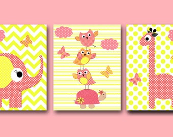 Giraffe Instant Download Childrens Art Digital Download Print Download Digital Print Baby Room Decor Baby Girl Nursery set of 3 8x10 11X14