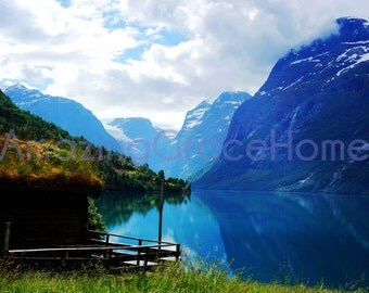 Norway Fjord photography, Norway photo, nature photo blue water, Norwegian fjord photo travel photo