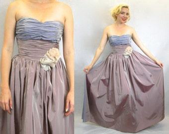 1940s Governor's Ball Strapless Gown | Lavender Silk Taffeta Evening Dress, Small