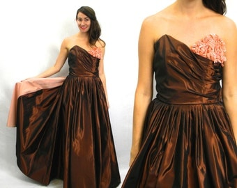 40s  Emma Domb Evening Gown | Elegant Copper Brown & Peach Ball Gown | Strapless Sweetheart Evening Dress, Medium