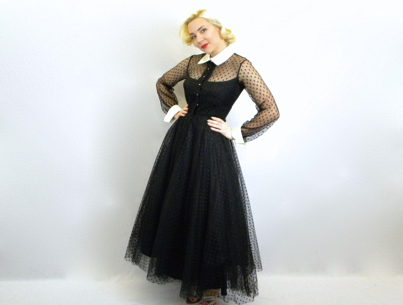 vintage ann es 50 robe de soir e tulle noir par glennasvintageshop. Black Bedroom Furniture Sets. Home Design Ideas