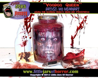 "Voodoo Queen / Zombie / Monster ""Head in a Jar"" Halloween Decor / Haunted House Prop - Horror, Walking Dead, scary, creepy"