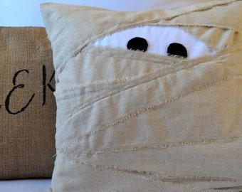 Mummy Pillow Cover, Muslin Mummy, Halloween Decor